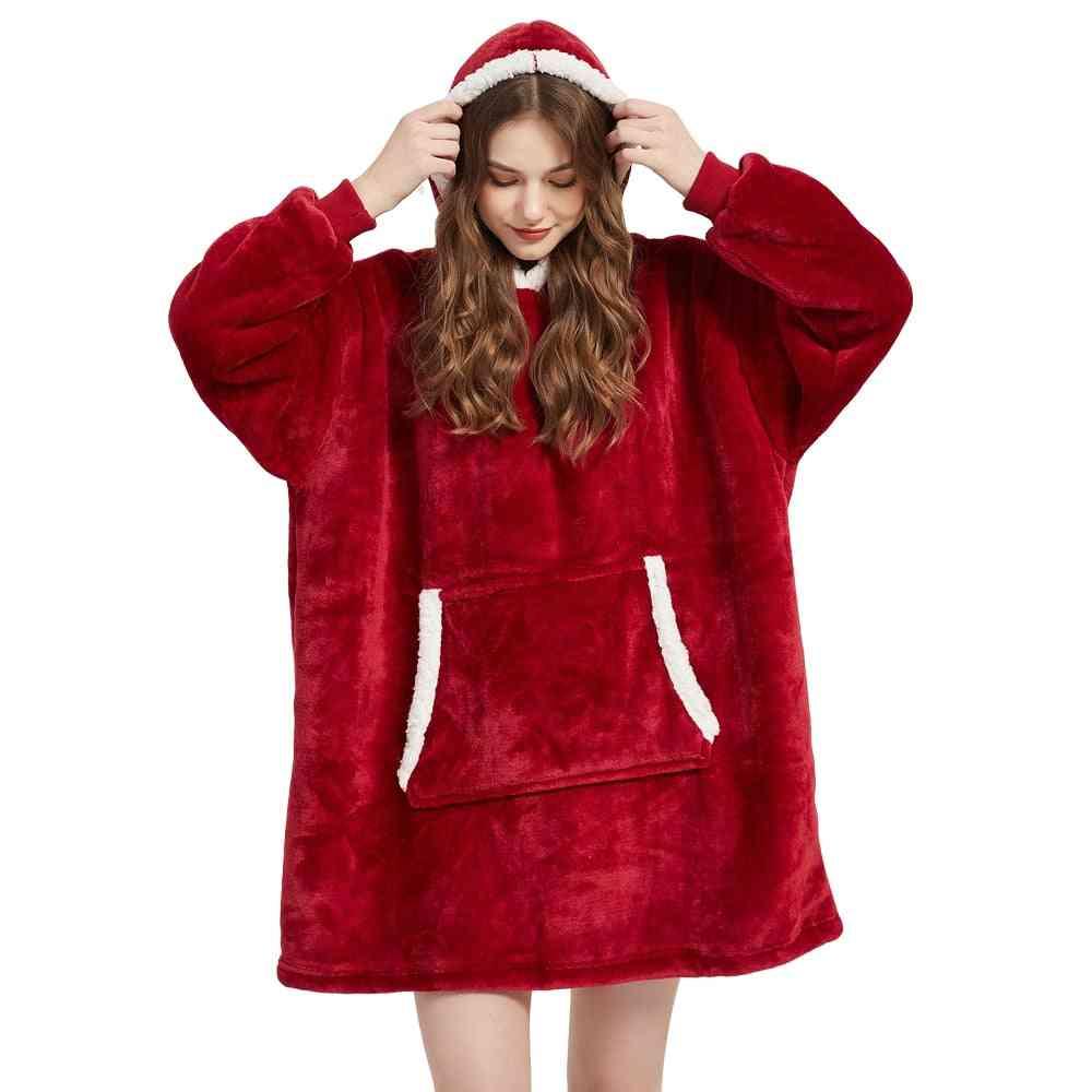 Winter Sherpa Blanket With Sleeve Ultra Plush Hoodie Warm Flannel Hooded