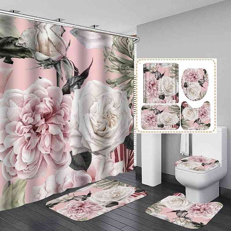 Big Flower Shower Curtain Mat Set With Carpet, Bath Screen For Home, Hotel, Bathtub Partition, Mold Proof, Durable Curtains Hooks