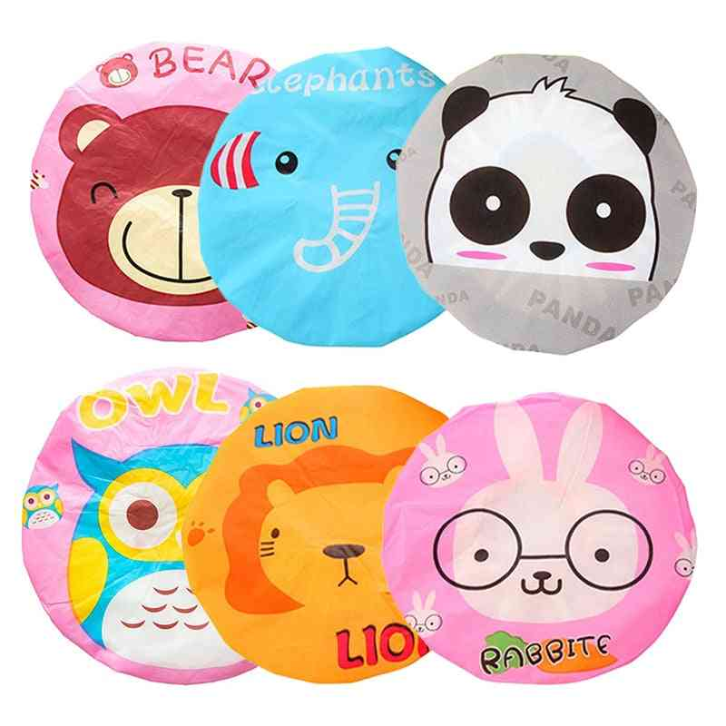 Variety Of Cartoon Shower Caps, Women's Bathroom Hats, Adjustable Lace, Elastic Spa Caps, Hair Protection