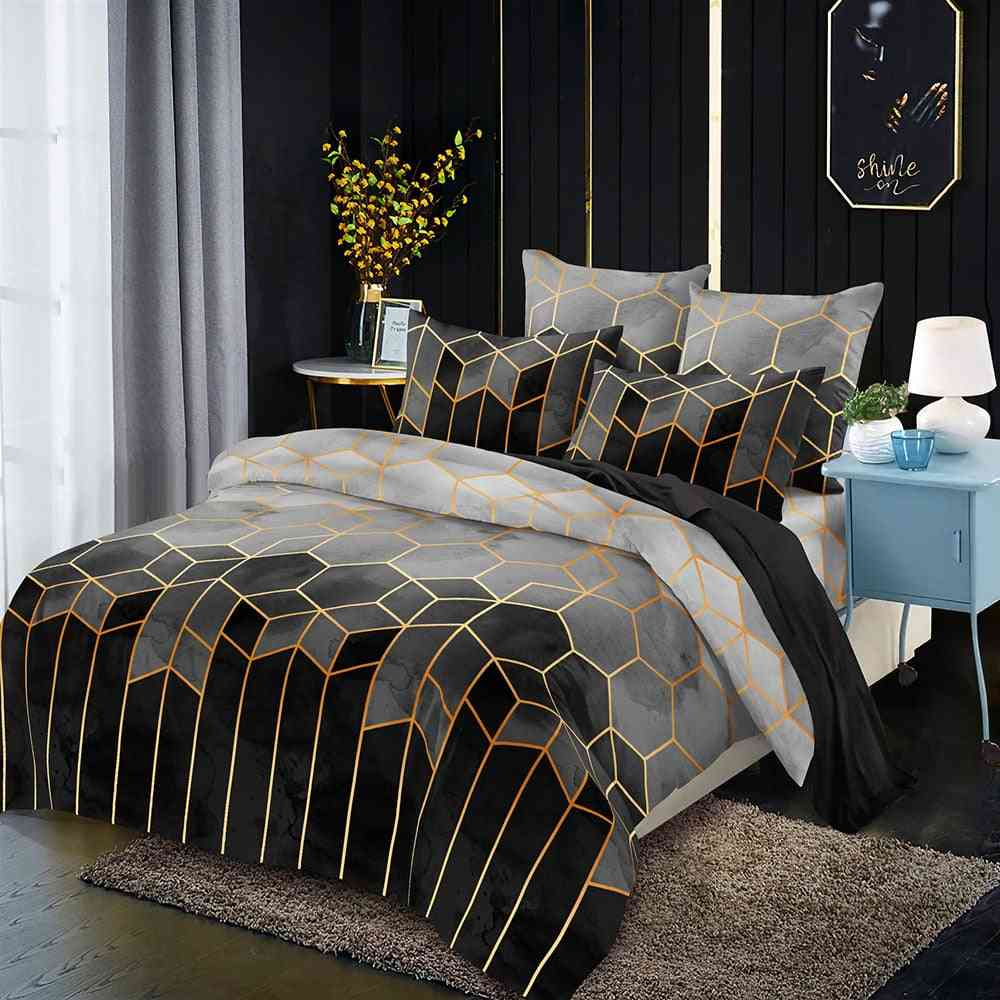 Minimalist Luxury Style Geometric Pattern Gilded Bedding Duvet Cover With Pillowcase