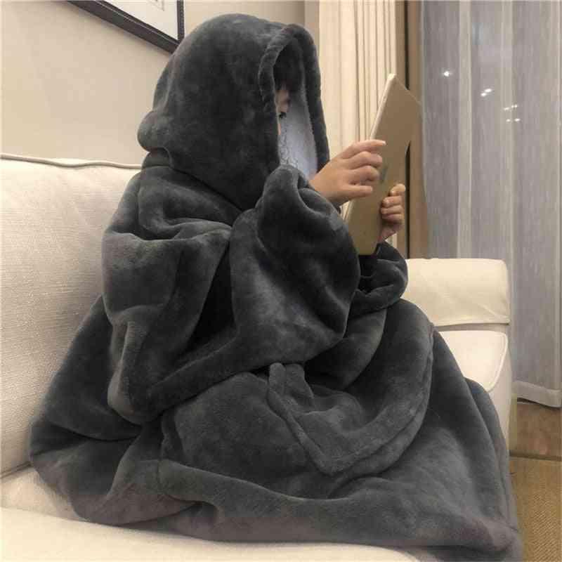 Warm Thick Tv Pocket Hooded Blanket Winter Sofa