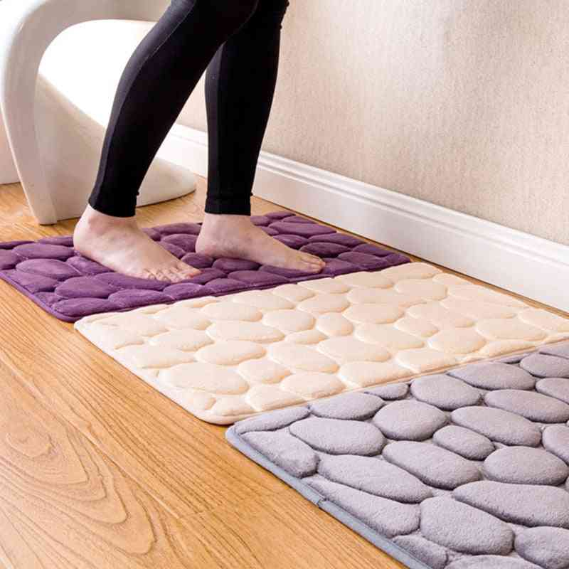Bathroom Carpet -slip Flannel Pad Floor Carpet Foam Coral Fleece Mats Set