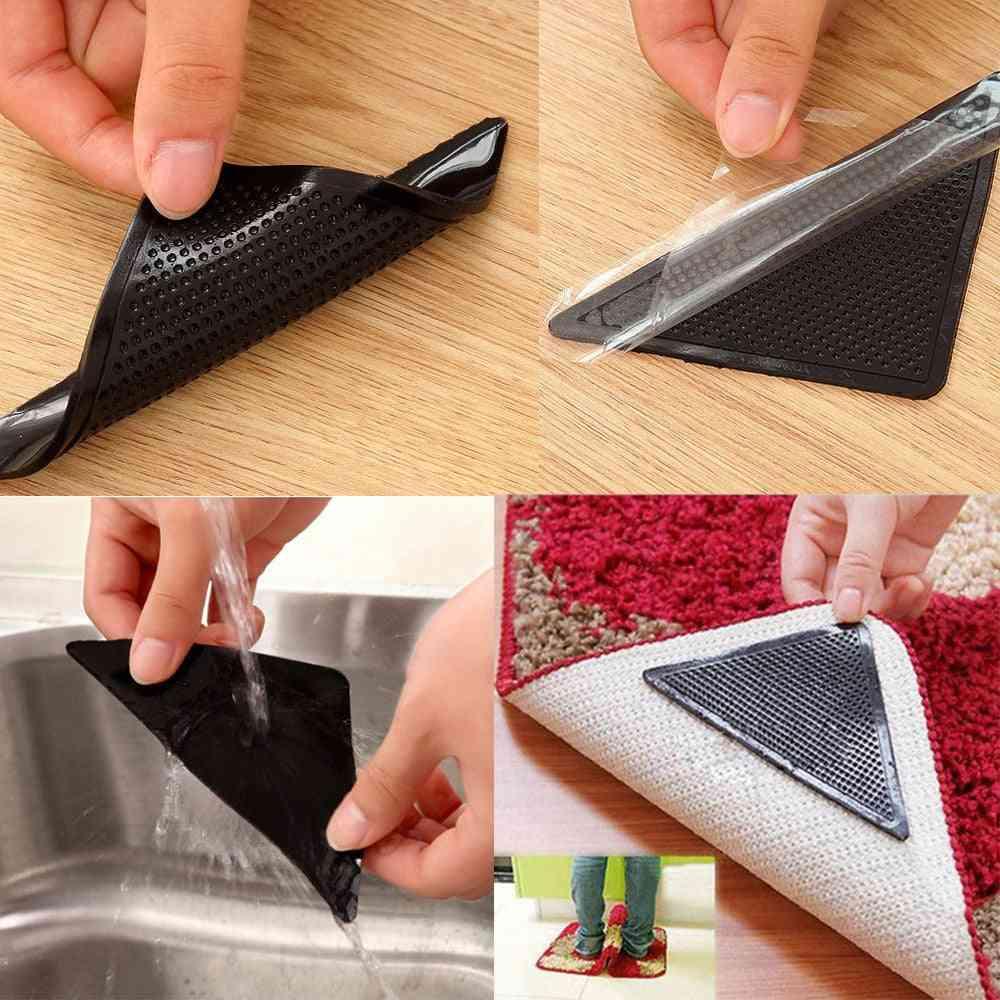 4pcs Carpet Pad Reusable Washable Rug Carpet Mat Grippers  (a)