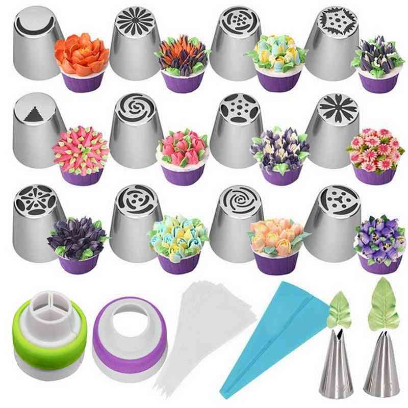 Stainless Steel Tulip Icing Piping, Flower Cream, Pastry Nozzles Bag Cupcake Decorating Tools