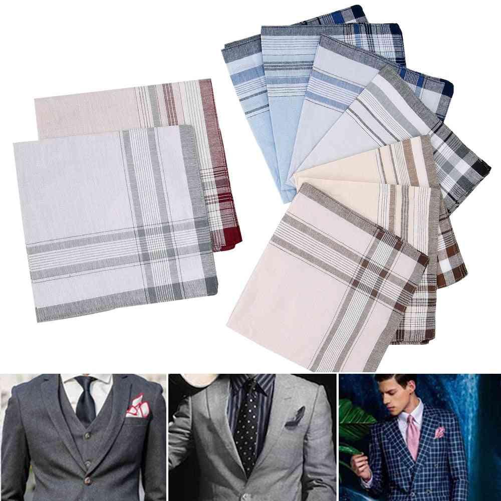 Multicolor Plaid Stripe Pocket For Wedding Party Business Chest Towel (10 Pcs Random Color)
