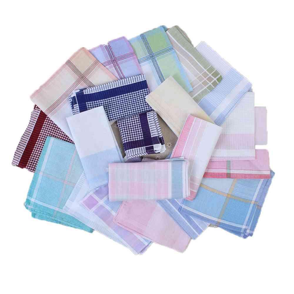 10pcs Striped Plaid Handkerchief Cotton Printing Hanky Square Towel