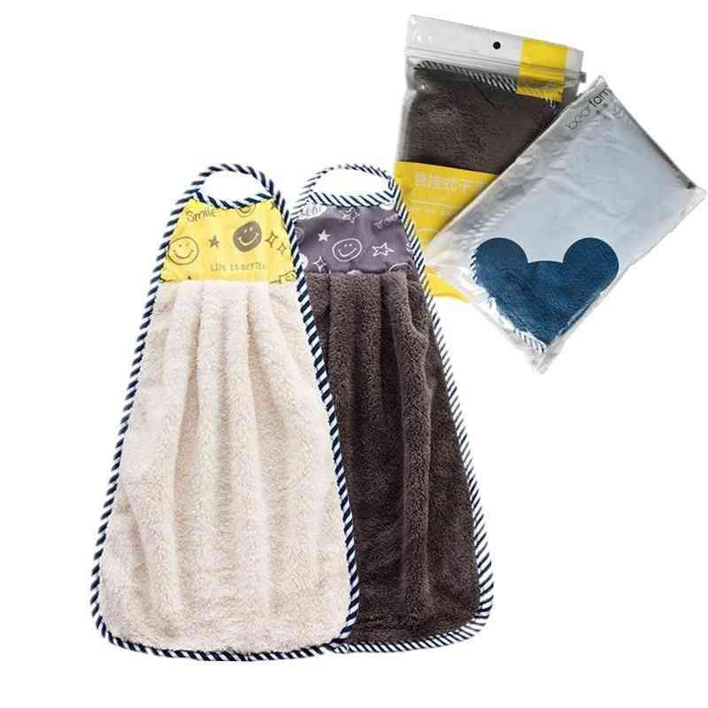 2pcs Microfiber Hand Towel Hanging Kitchen Handkerchief For Hands Bathroom Towels (a)