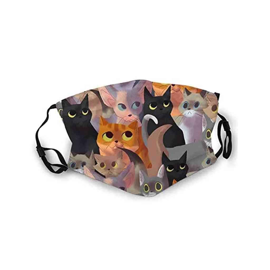 Washable Reusable Mouth Cats Print Ski Women Men Cotton Mask (a)