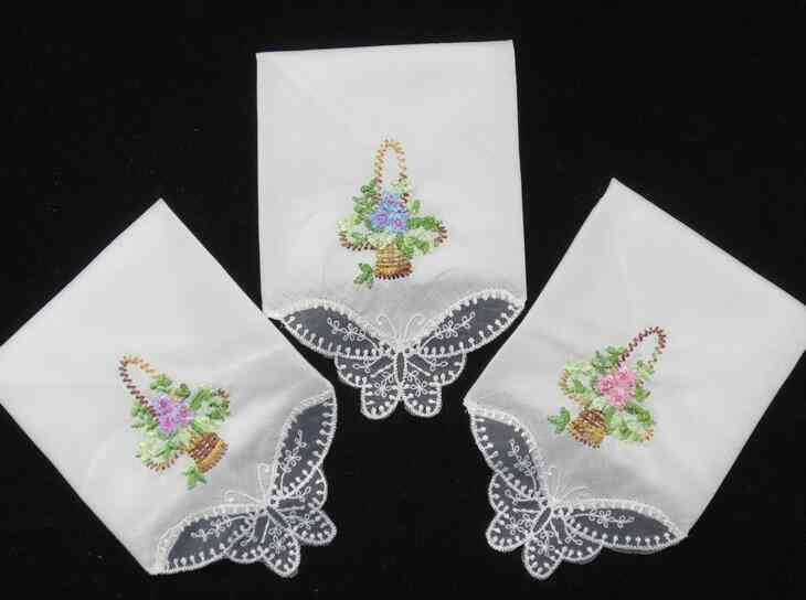 Women Hankies Embroidered Lace Flower Hanky Floral Random Color Cloth Fabrics (square 28x28cm)