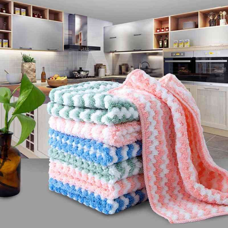 Kitchen Towel Plush Microfiber Cleaning Cloths Better Than Cotton Kitchen Cleaning Tool