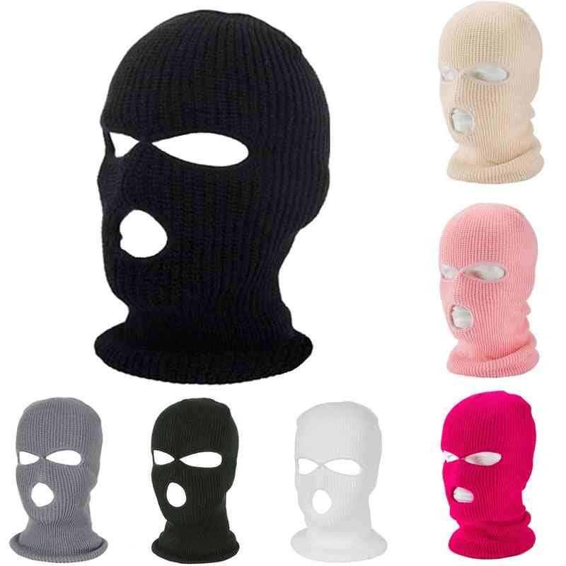 Full Face Cover Mask 3 Hole Balaclava Knit Hat Army Tactical Cs Winter Warm Masks