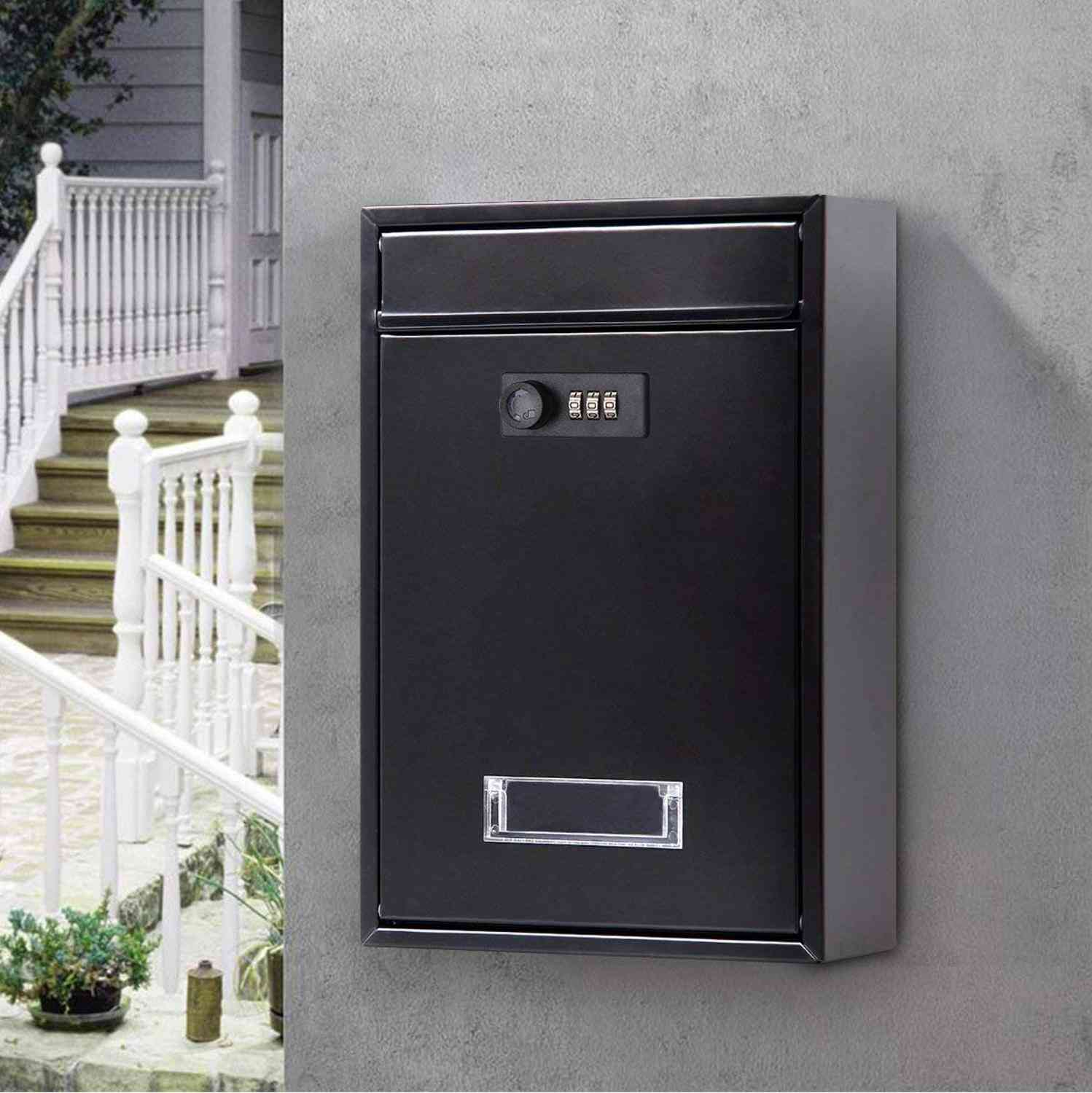 Vintage Wall Mounted Mailbox With Combination Lock Metal Coded Lock Letterbox
