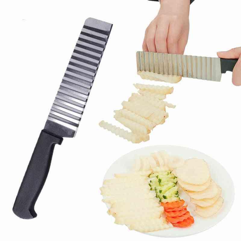 Stainless Steel- Potato Chip Slicer Knife, Cutter Chopper, French Fry Maker