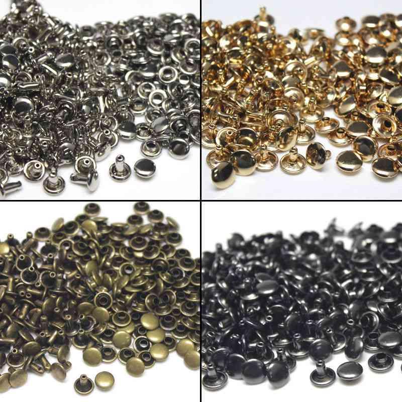 Metal Double Cap Rivets Studs, Round For Leather Craft Bag Belt Clothing Garment, Shoes, Pet Collar Decor