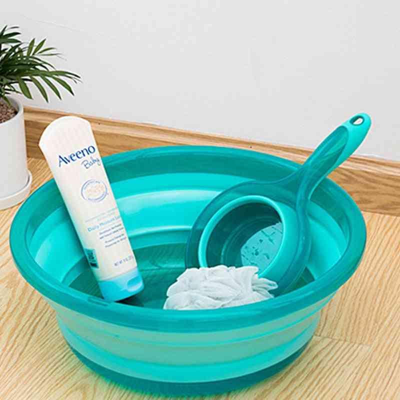 Plastic Folding Water Scoop Portable Wash Basin Bucket