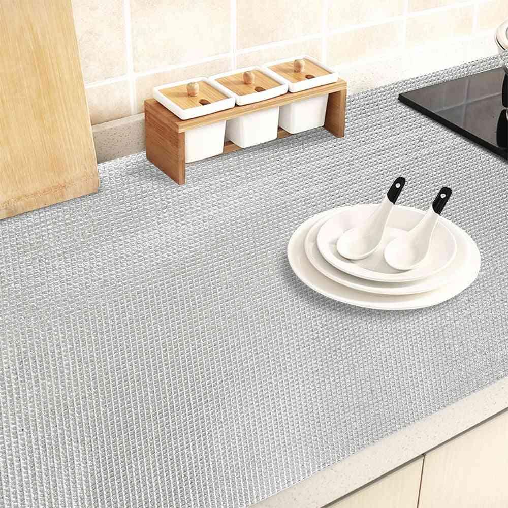 Kitchen Sticker Table Mat Drawers Cabinet Shelf Liner (silver 45x300cm)