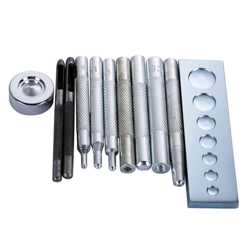 11pcs- Leather Punch Hole, Snap Rivet Button, Setter Base Kit Tool