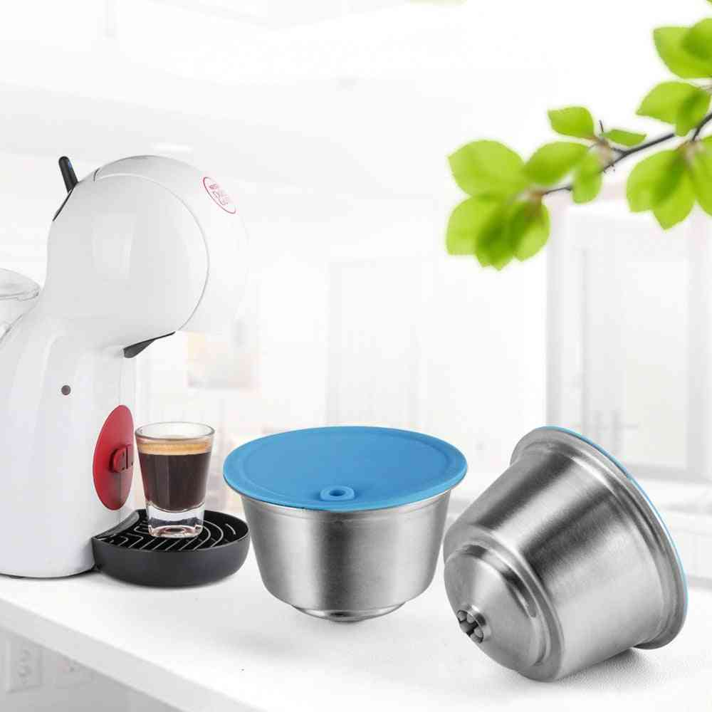 Refillable Metal Reusable Capsule, Silicone Cover Coffee Machine Spoon With Clip