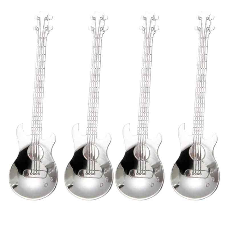 Guitar Coffee Teaspoons,4 Pcs Stainless Steel Musical
