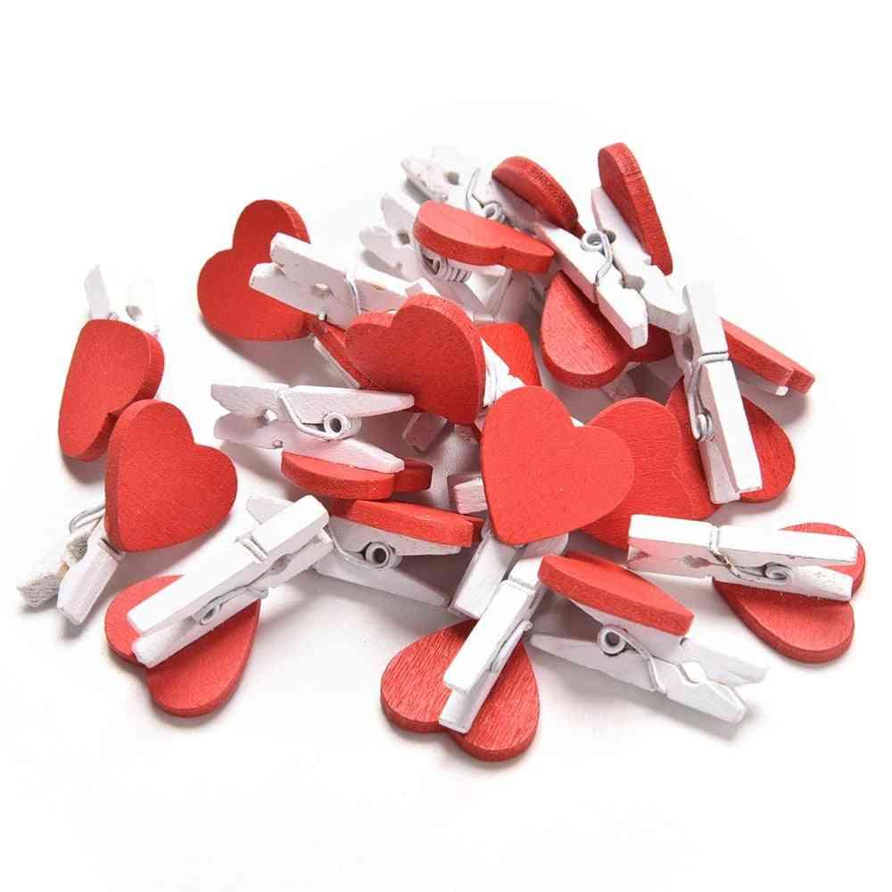 20 Pcs Cute Kawaii Love Hearts Wooden Paper Clips Photo Paper Peg Pin