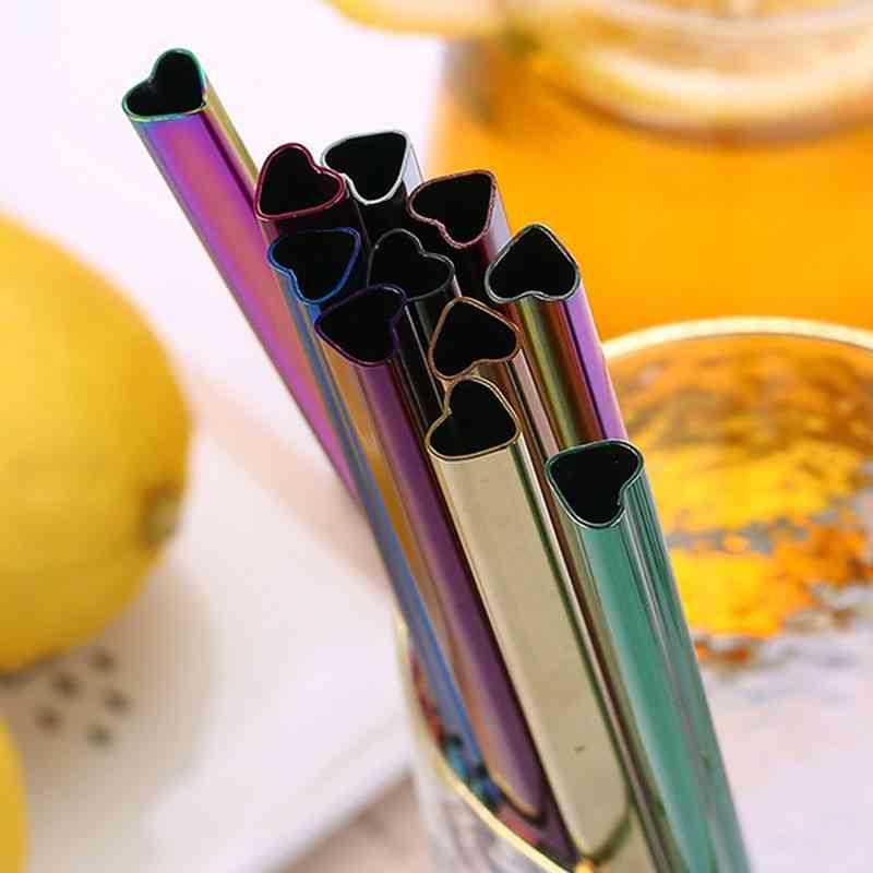 Drinking Reusable Metal, Heart-shaped Bubble Tea Straws