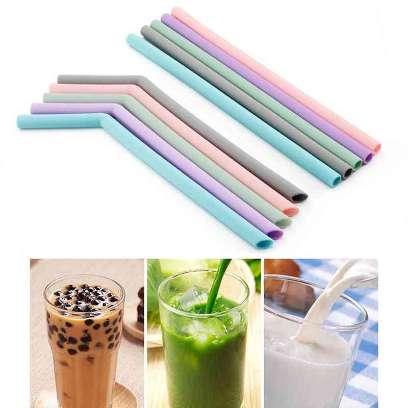 Reusable Silicone Drinking Foldable Flexible Straw With Cleaning Brushes