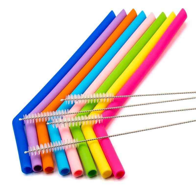 Reusable Silicone Straws, Food Grade, Flexible Bent, Straight Drinking Straw