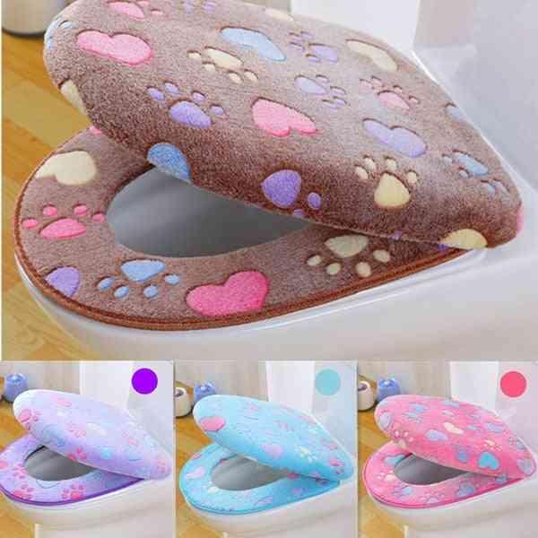 Thick Coral Velvet, Luxury Toilet Seat Cover Set