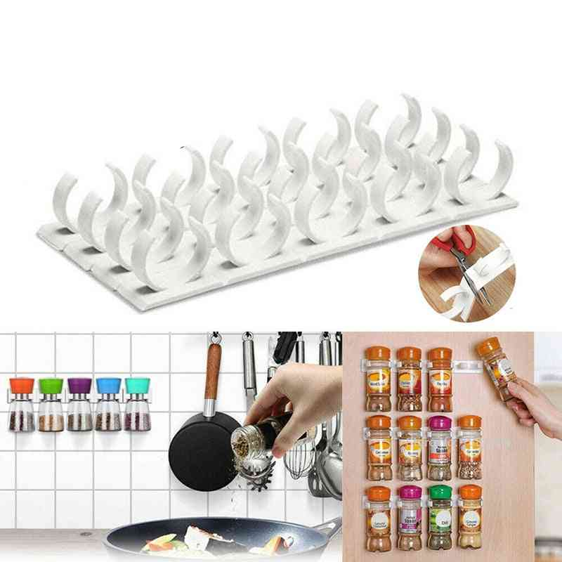 4-layers Wall Cabinet & Door Hanging Spice Jars, Clip Hooks Set