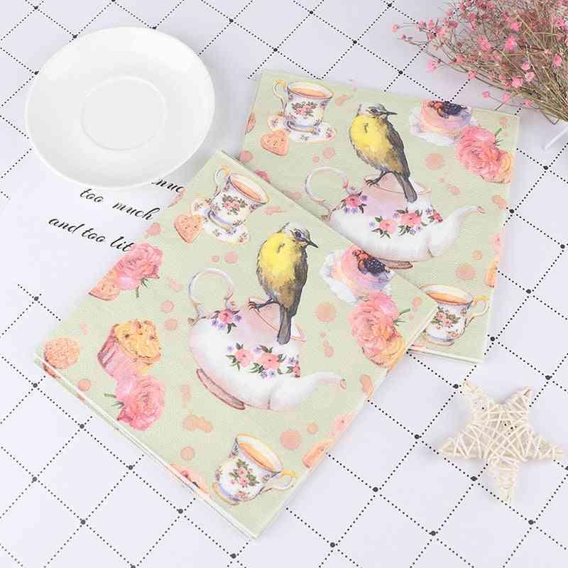 Vintage Napkins Tissue Print Birds Tree Flowers