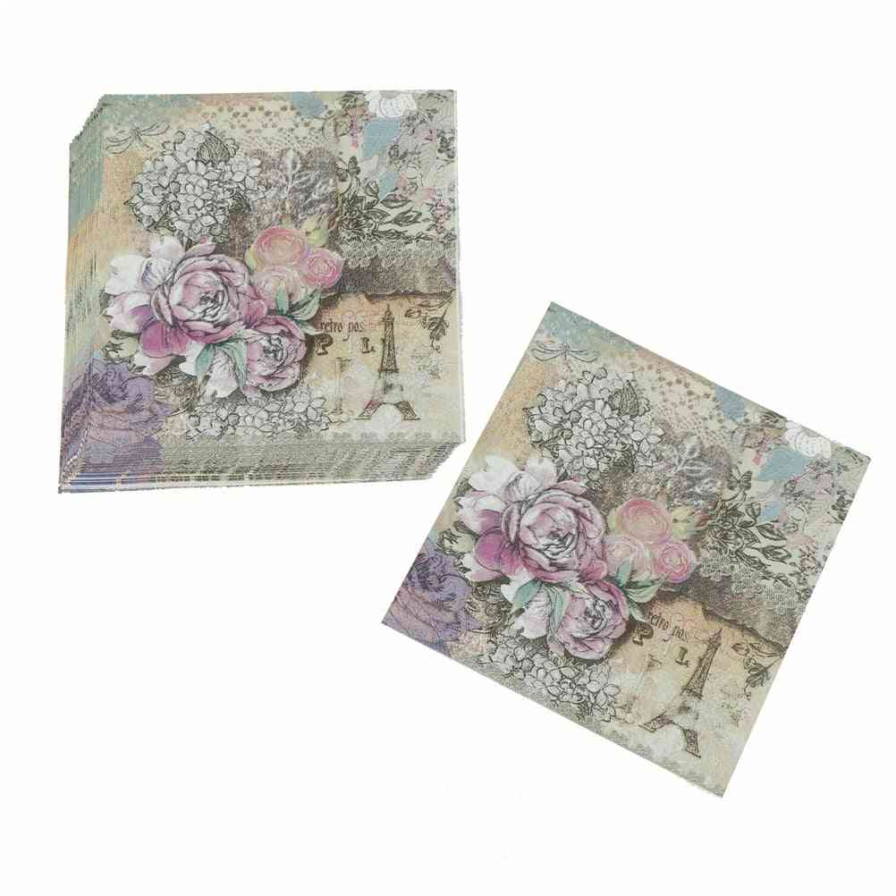 Printed Feature Rose Paper Napkins