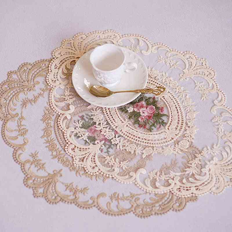 Dining Table- Embroidery Craft, Placemat Lace Fabric, Insulation Plate Mat