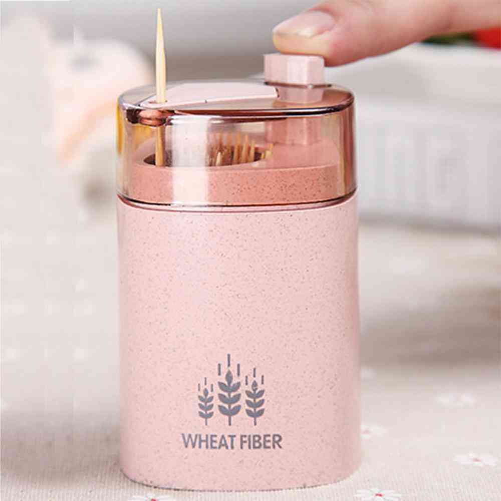 Automatic Toothpick Holder, Container Wheat Straw Bottle Box