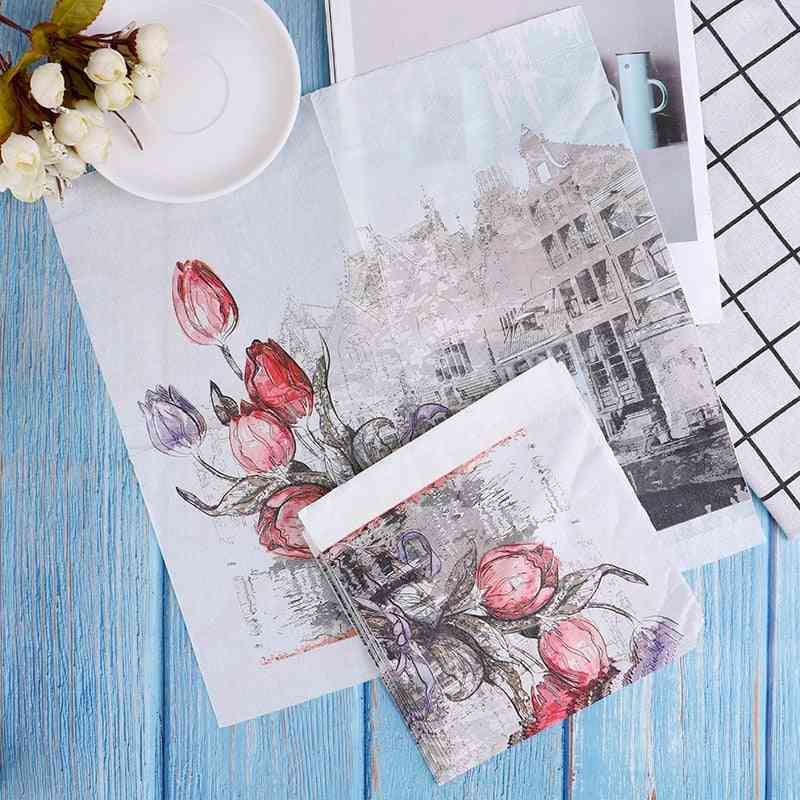 Raw Wood  Flower Pattern Decoupage Napkin Tissue Paper