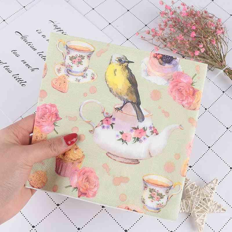 Flower And Bird Decoupage Napkin Tissue Paper