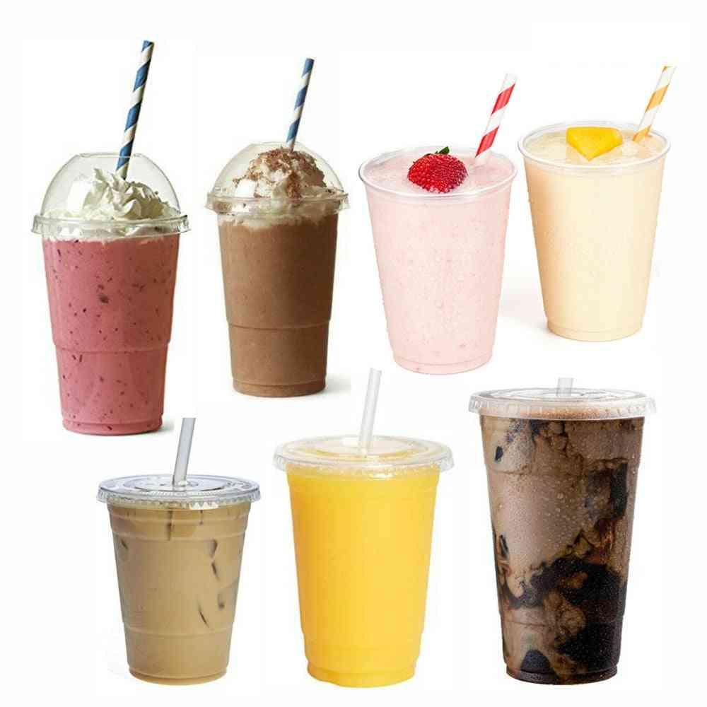 Disposable Smoothie Cups, Domed Lids Plastic Milkshake Glasses