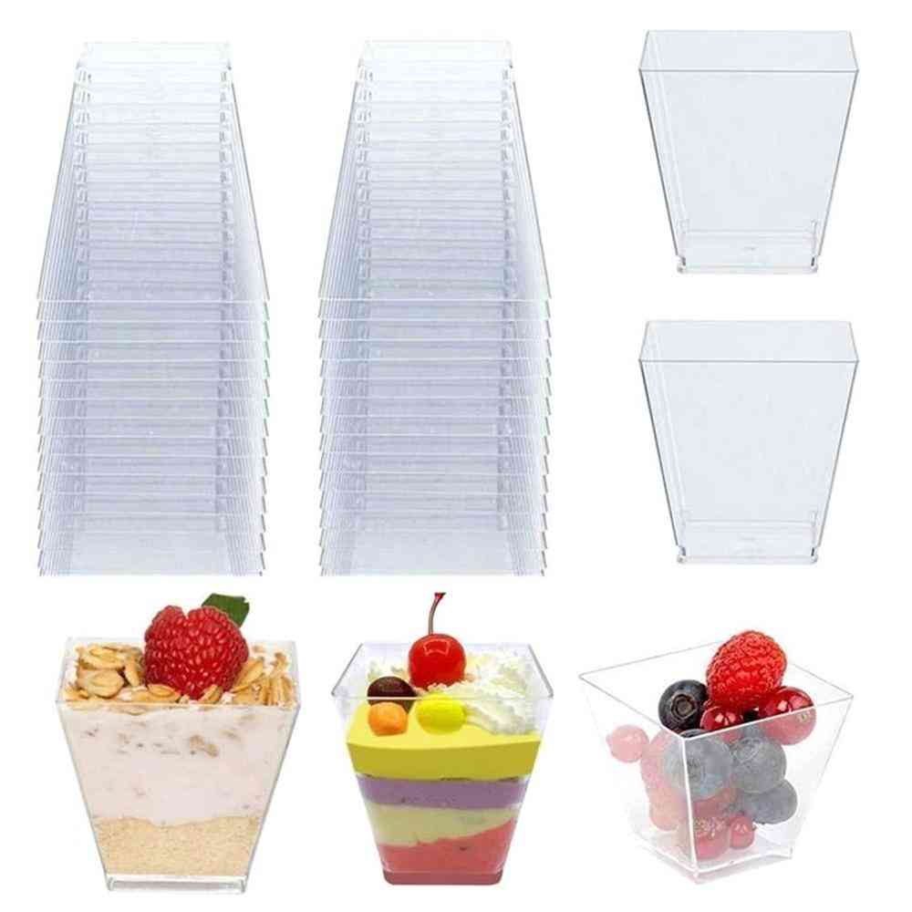 Disposable Plastic Cups, Portion Transparent Clear Trapezoidal Food Container