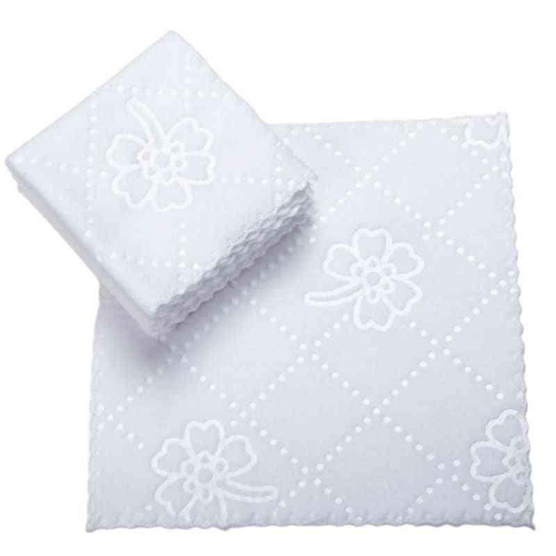 Ultrasonic Cut Edge Lace Square White Napkin Wmbossed Hotel Restaurant Fiber