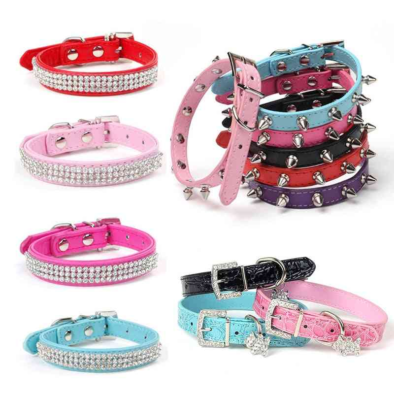 Adjustable Pu Leather Pet Collar For Dogs Pug Chihuahua