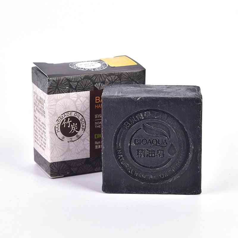 Natural Organic Herbal Essential Black Bamboo Oil Whitening Soap