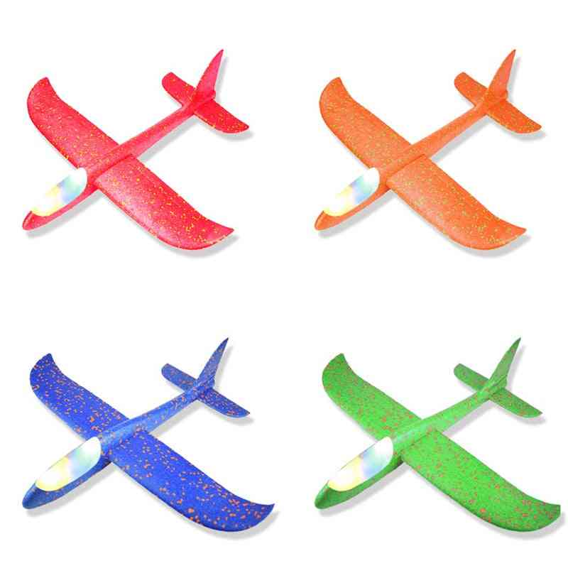 Hand Throwing Foam Slewing Airplane Model Toy & Luminous Machine With Light