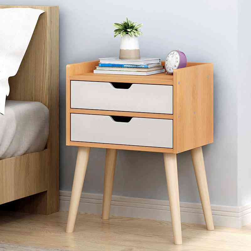 Nordic Bedside Table, Solid Wood Small Cabinet