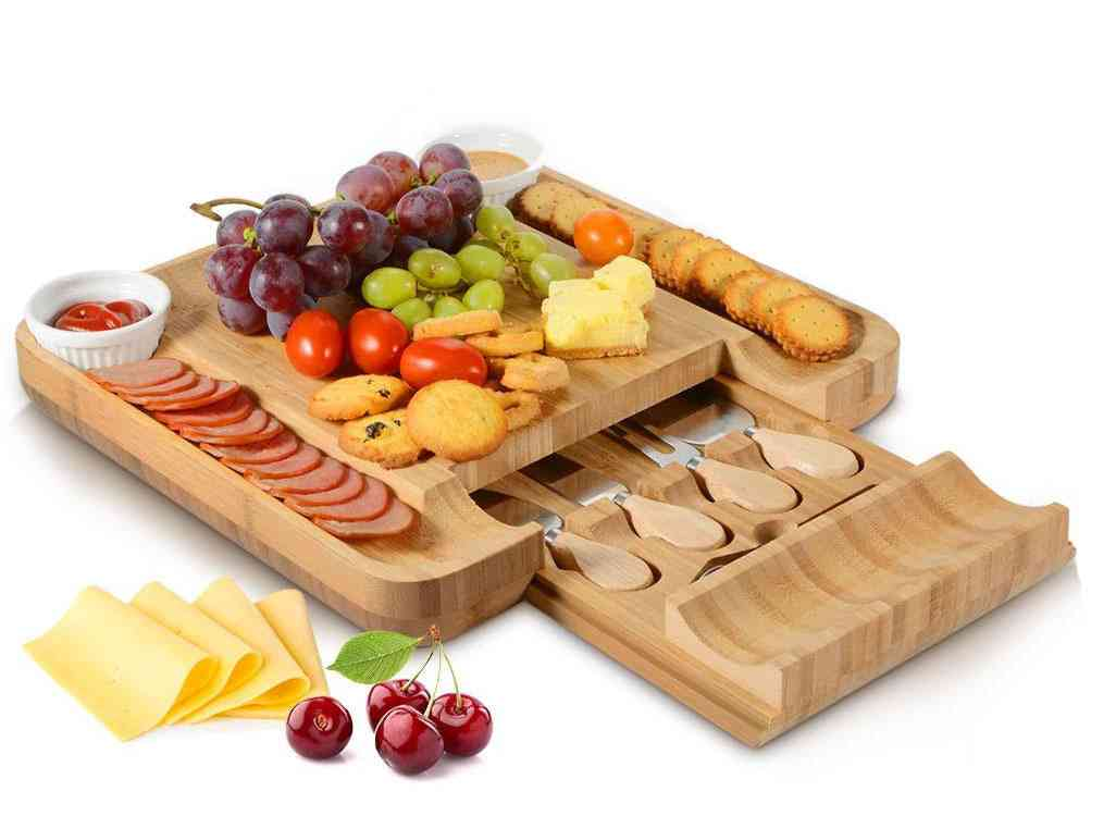 Cheese Board Cutlery Knif Set With Slide Out Drawer