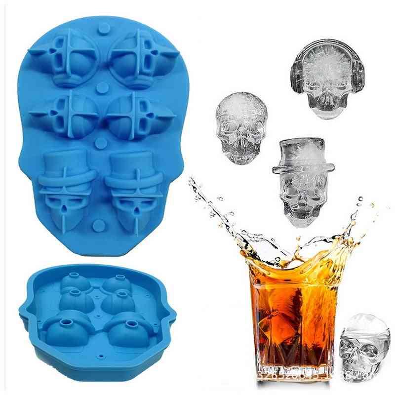 Silicone Ice Cube Tray, 3d Skull Shape Mold