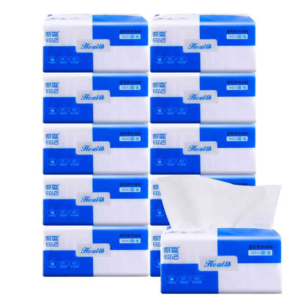 10packs Toilet Bathroom Napkin Paper Wood Pulp 3 Ply Facial Tissues Skin Friendly Pumping 300 Sheets Soft Disposable Restaurant
