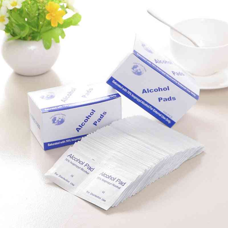 100pcs Alcohol Prep Swap Pad Wet Wipe Disposable Disinfection For Antiseptic Skin Cleaning Care Jewelry Mobile Phone Clean Wipe