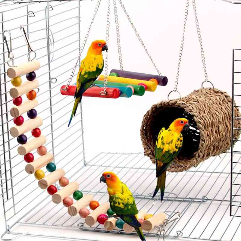 Parrot Cage Toy, Squirrel Hamster Hammock Bird Nest Swing Ladder