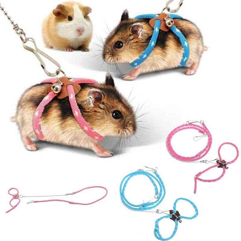 Hamster Harness Lovely Adjustable Rope Leash With Bell
