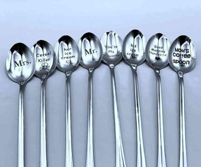 Good Morning/handsome/couples Long Handle Coffee/tea/ice Cream Spoon