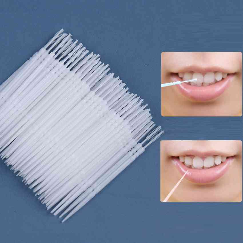Pick Interdental Brush, Double-head, Teeth Cleaning Toothpick, Oral Care Tool, Dental Floss
